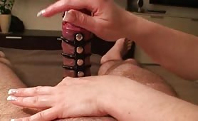 Handjob with Cockharness