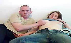 Horny couple sets up camera and fucks