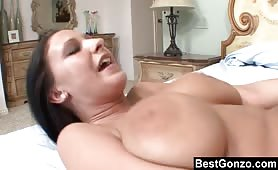 Hot Brunette With Huge Natural Tits Have A Good Time