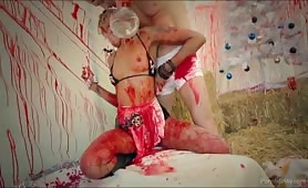 Black slut plowed in the bloody tent