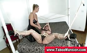 Mistress whips tits